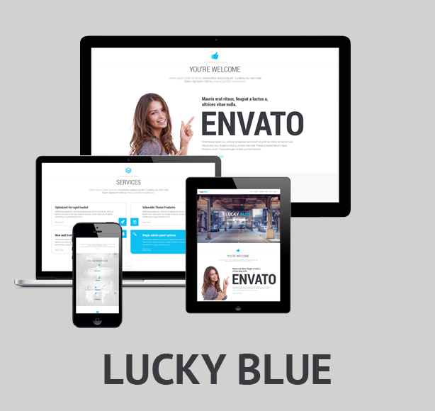 Lucky Blue - One-page, Multipurpose theme