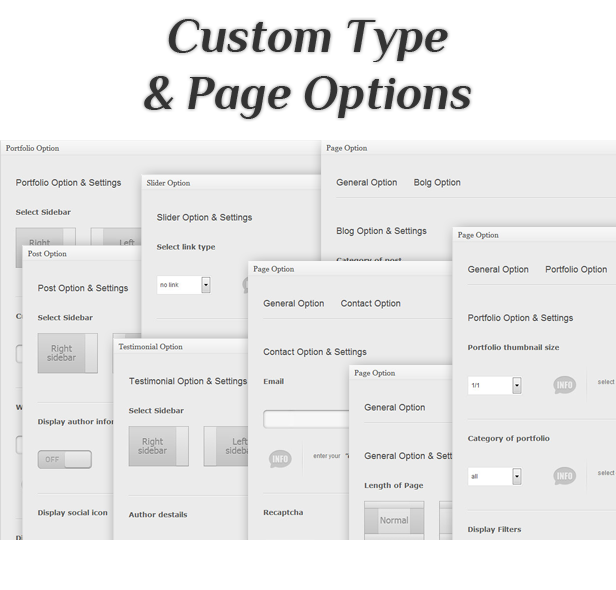 unique theme - custom type and page options